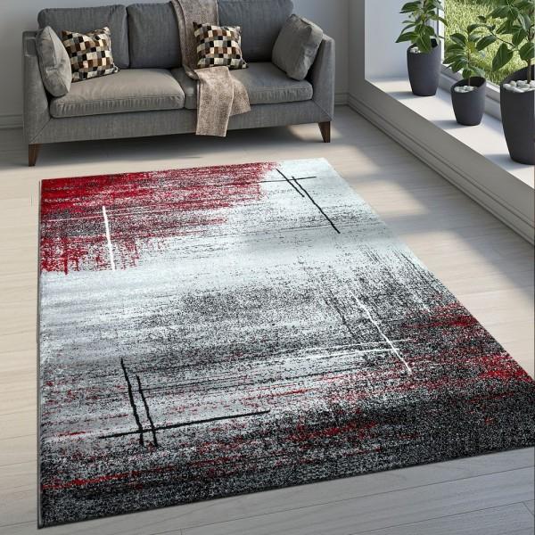 Edler Designer Wohnzimmer Teppich Kurzflor Farbverlauf Abstraktes Muster Rot