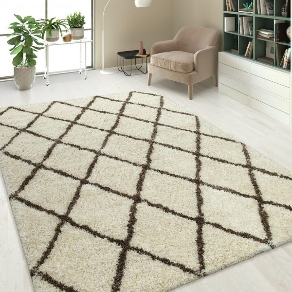 Hochflor Shaggy Teppich Linien Design Creme