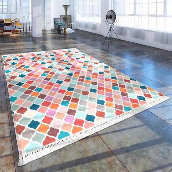 Moderner Teppich Mit Bedrucktem Marokkanischen Muster Trend Mehrfarbig Bunt
