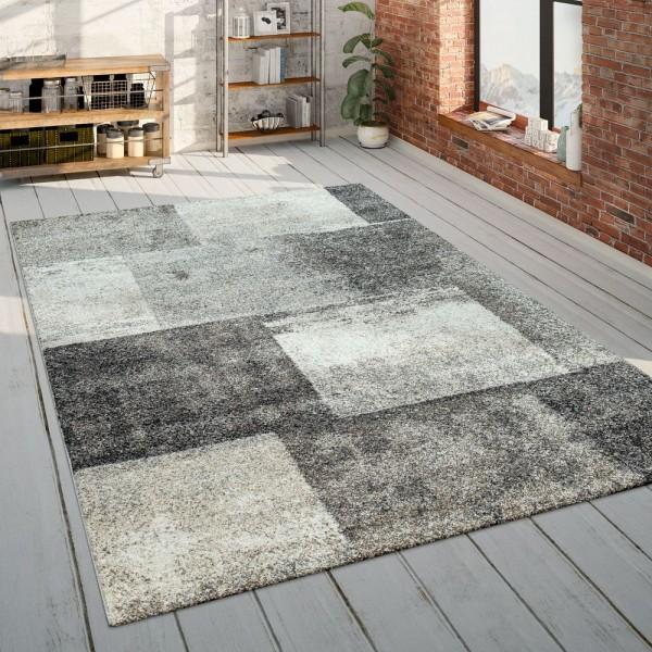 Wohnzimmer-Teppich, Kurzflor Mit Karo-Muster, Meliert In Beige Und Braun