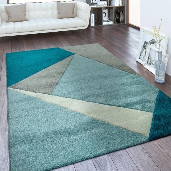 Moderner Kurzflor Teppich Geometrisches Design Blau