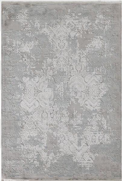 Wohnzimmer Teppich Shabby Chic Look Fransen 3D Orient Muster Grau