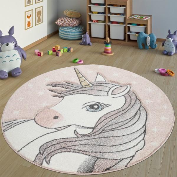 Tappeto camera dei bambini rotondo con motivo unicorno