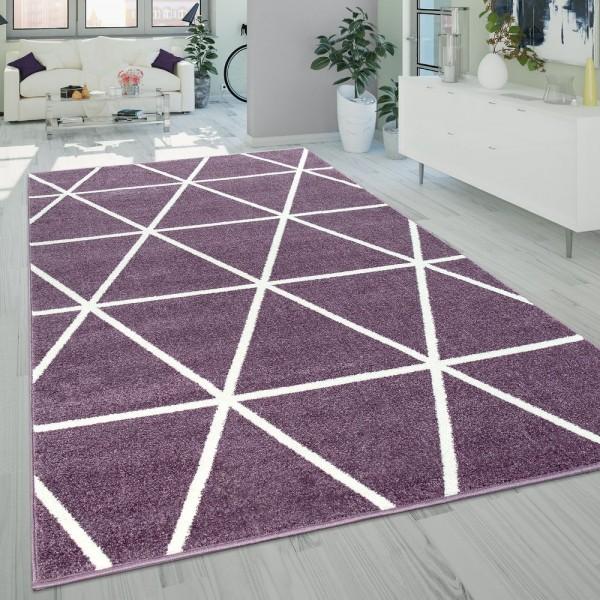 Kurzflor Wohnzimmer Teppich Lila Pastell Geometrisches Design Rauten Muster