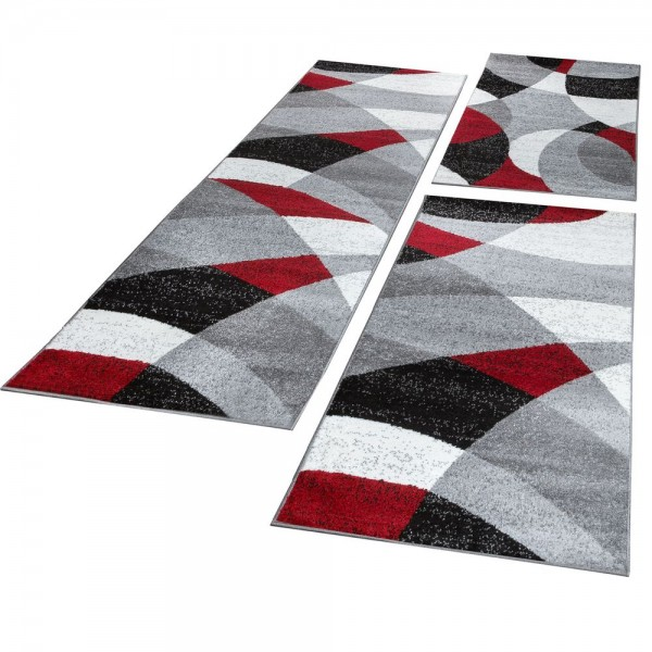 Runner Set Geometric Red Grey
