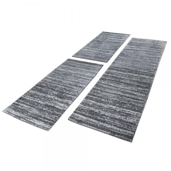 Läuferset Teppich Modern Kurzflor Grau