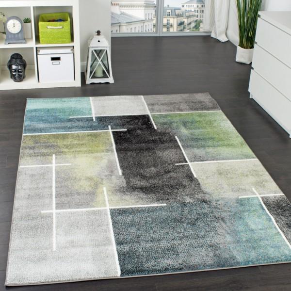 Designer Teppich Kariert Modern Trendig Meliert Eyecatcher in Grau Türkis Grün