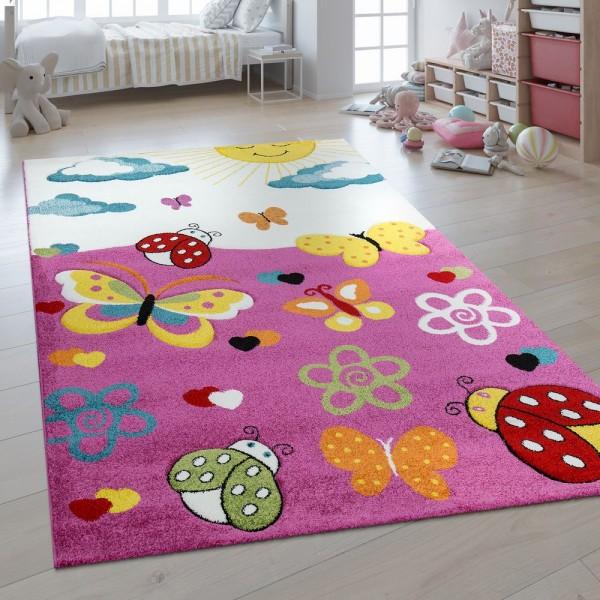 Kinderteppich 3D Effekt Schmetterlings Welt Pink