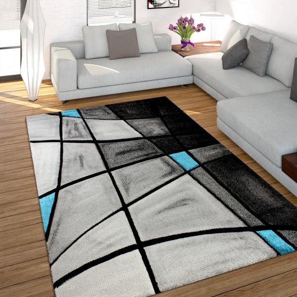 Designer Teppich Kariert Konturenschnitt