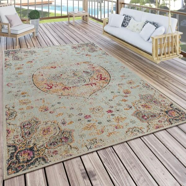 In- & Outdoor-Teppich Für Balkon Und Terrasse Mit Orientalischem Muster In Beige