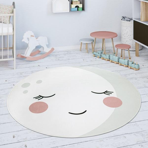 Kinderteppich Teppich Kinderzimmer Rund Mond Motiv