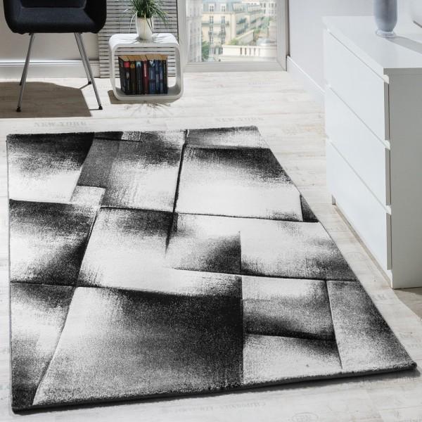 Designer Teppich Modern Wohnzimmer Teppiche Kurzflor Meliert Grau Creme Schwarz