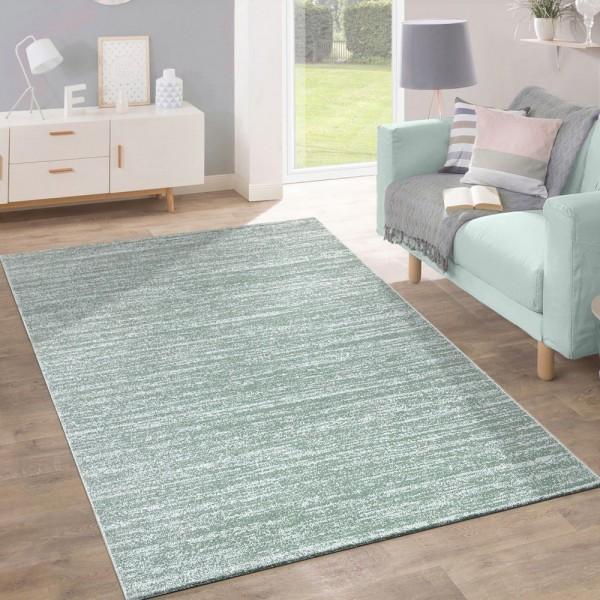 Teppich Kurzflor Modern Trendig Pastellfarben Design Meliert Einfarbig Grün
