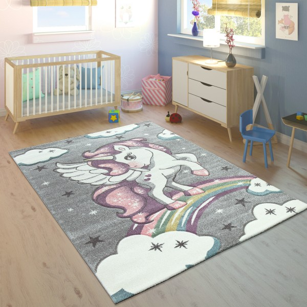 Children's Rug Rainbow Unicorn Colourful Grey