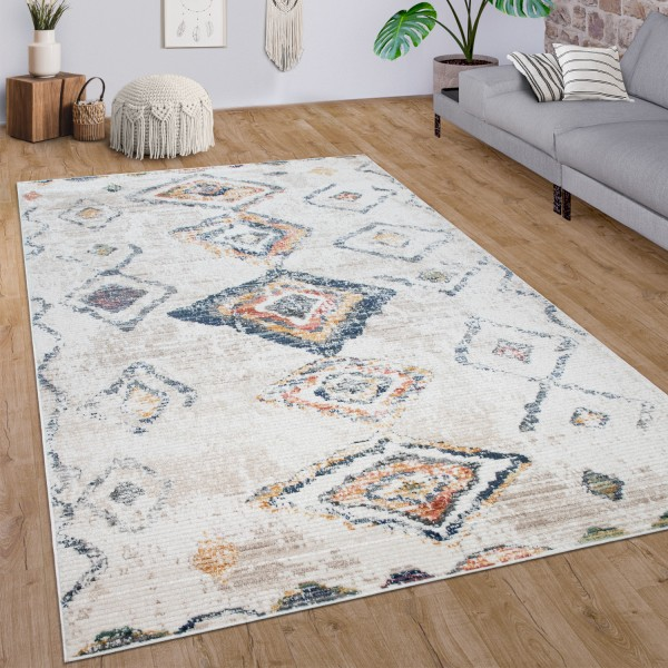 Teppich Wohnzimmer Vintage Ethno Muster Abstrakt
