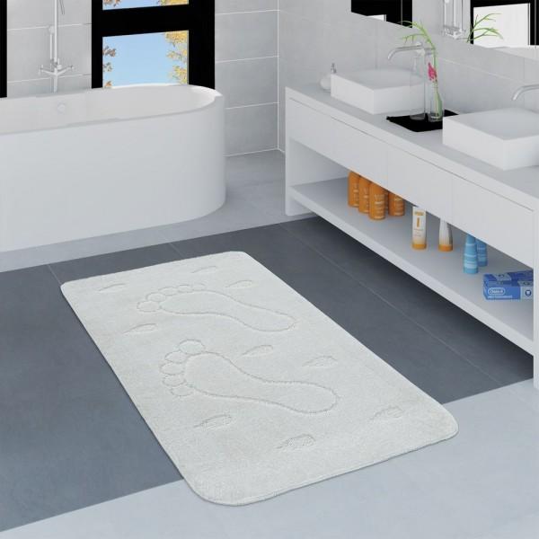 Moderner Badezimmer Teppich Rutschfest Badvorlerger Fußabdruck Einfarbig In Weiß