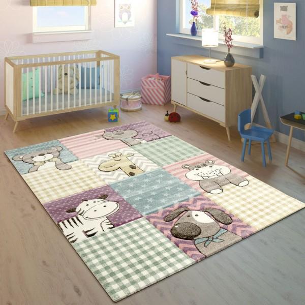 Kinderteppich Bunt Pastellfarben 3-D Karo Muster Tier Design Weich Kurzflor