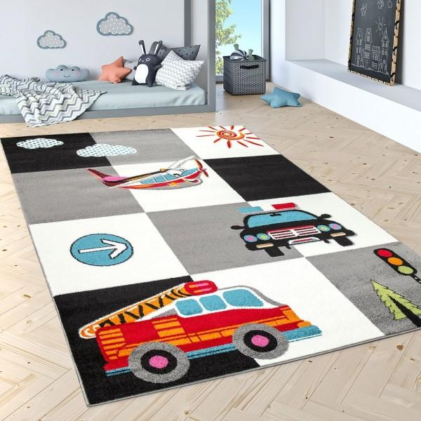 Kinderteppich Spielteppich Polizei Feuerwehr Flugzeug Karo Creme Grau Schwarz