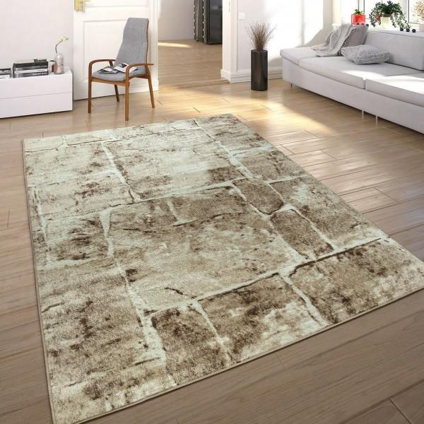 Designer Teppich Modern Trendig Meliert Steinoptik Mauer Muster Wohnzimmer Braun