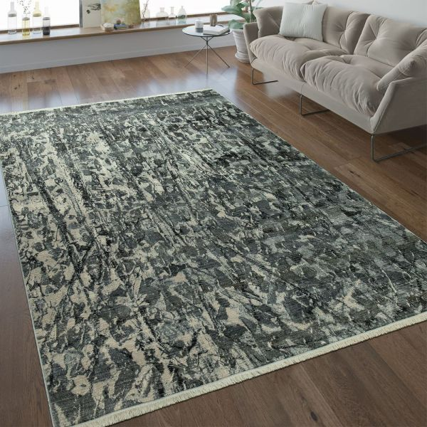 Designer Teppich Abstraktes Design Silber Grau