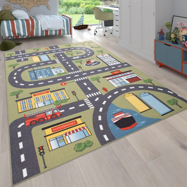 Teppich Für Kinderzimmer, Spielteppich Autos, Straßen-Motiv