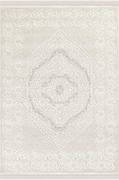 Polyacryl Teppich Kurzflor Hochwertig Klassisch Bordüre Fransen Ornamente Creme