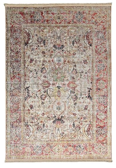 Klassischer Wohnzimmer Teppich Orient Flachgewebe Bordüre Fransen Bunt Beige
