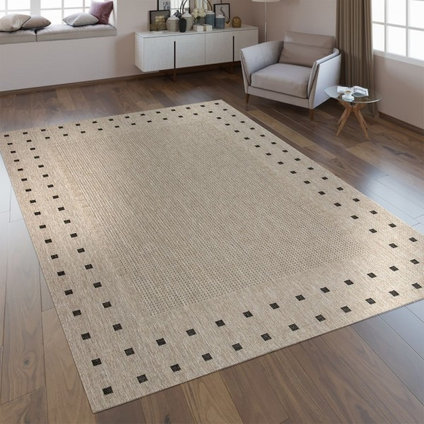 Flachgewebe Teppich Bordüre Grau