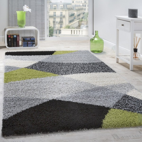 Shaggy Teppich Hochflor Langflor Weich Geometrisch Gemustert Grau Schwarz Grün