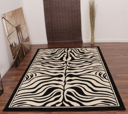 Moderner Designer Teppich Schwarz Weiss Zebra Tiermuster Neu*OVP