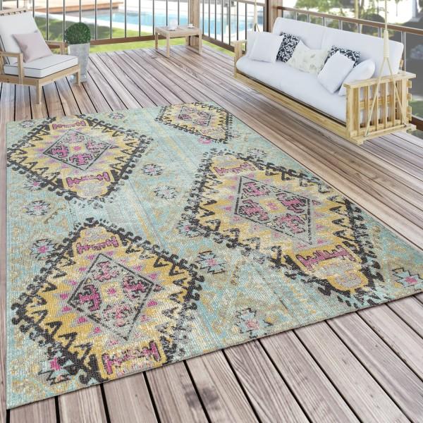Outdoor carpet rhombus pattern turquoise