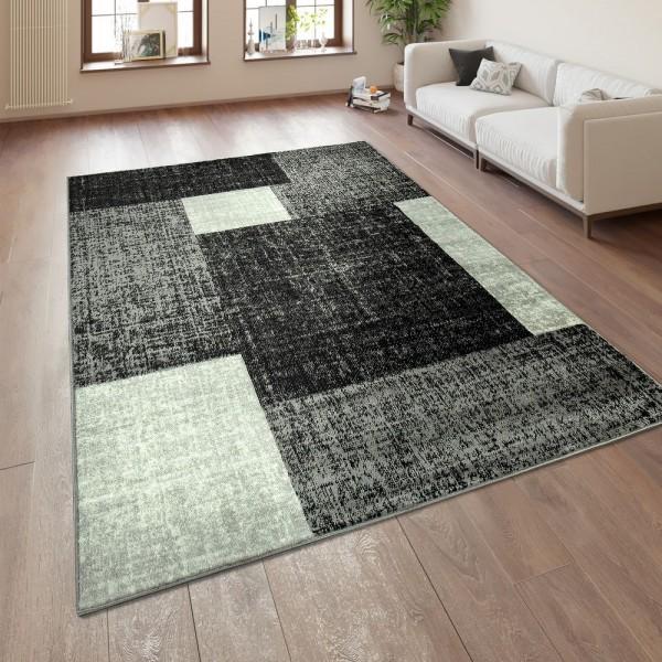 Designer Wohnzimmer Teppich Modern Kurzflor Karo Muster Schwarz Grau Weiß