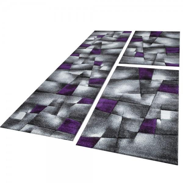 Läufer Set Geometrisch Lila Grau