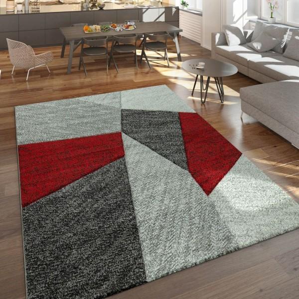 Designer Teppich Moderner Kurzflor Strick Optik Geomterische Muster Grau Rot