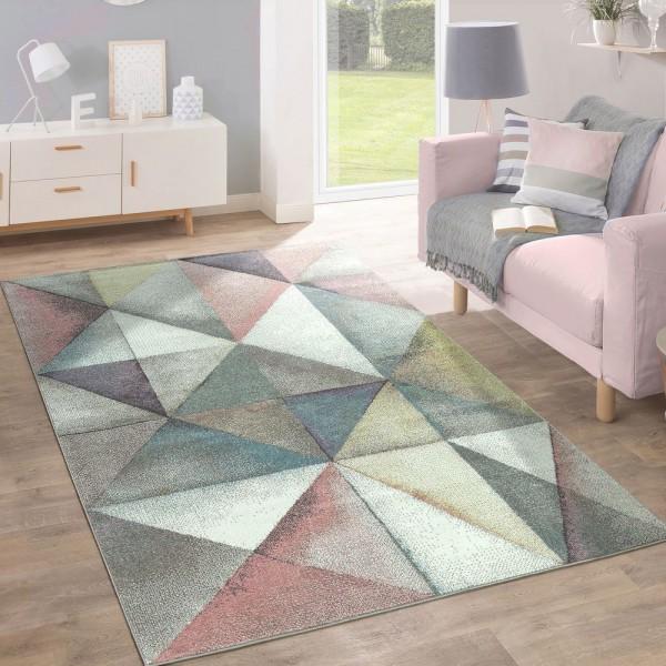 Kurzflor Teppich Trendige Pastellfarben Modernes Triangel Design Mehrfarbig Bunt