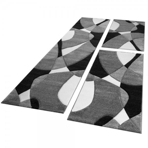 Läufer Set Geometrisch Schwarz Weiß