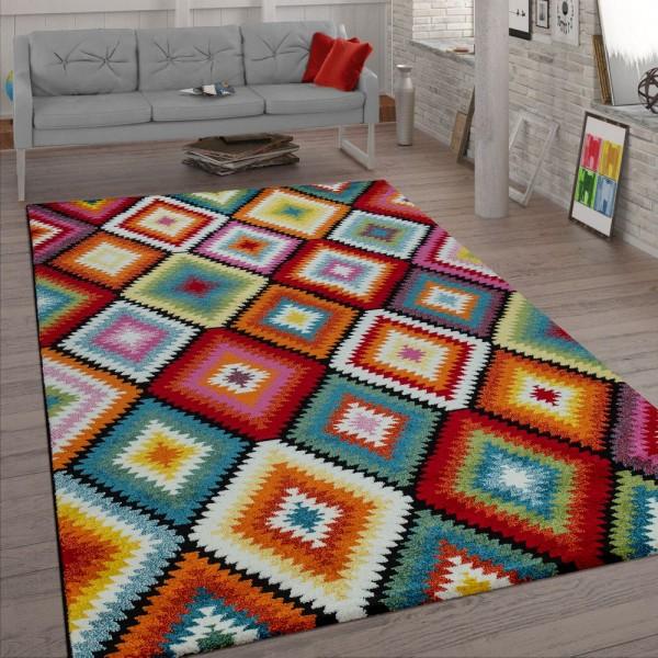 Wohnzimmer-Teppich, Kurzflor Mit Rauten-Muster,Retro-Look Und 3-D-Effekt, Bunt