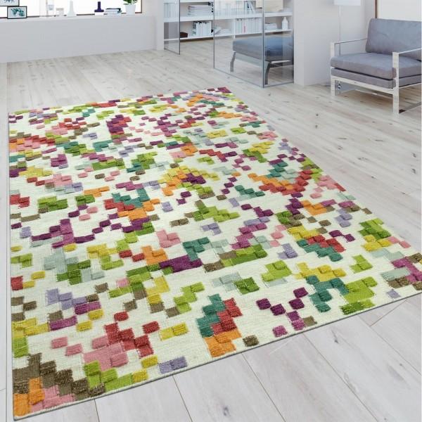 Handwebteppich Karo Design Multicolor