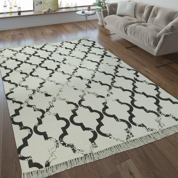 Flachgewebe Teppich Marokkanisches Muster Anthrazit