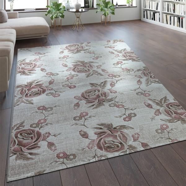 Designer Teppich Floral Pastell Rosa
