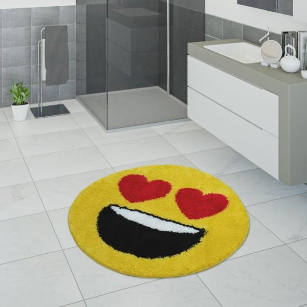 Badematte, Kurzflor-Teppich Für Badezimmer Mit Herzaugen Smiley,In Gelb