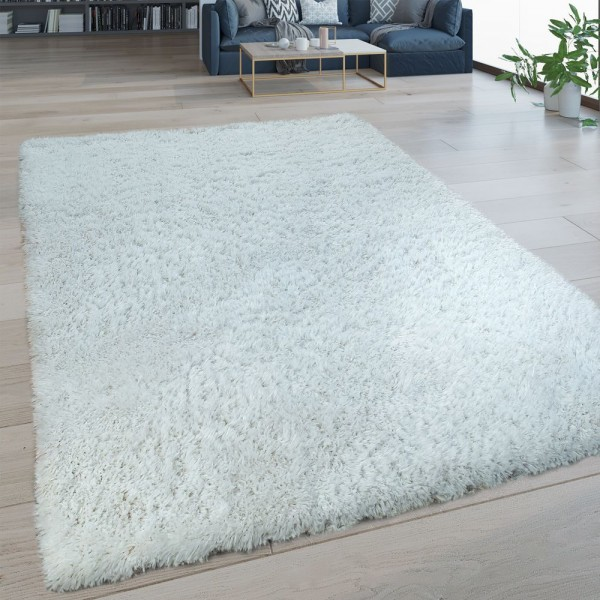 Hochflor Wohnzimmer Teppich Waschbar Shaggy Flokati Optik Einfarbig In Weiß