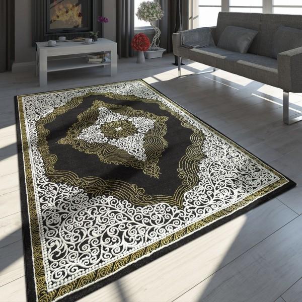 Orientteppich Modern 3D Effekt Ornamente Meliert Grau Gold Schwarz