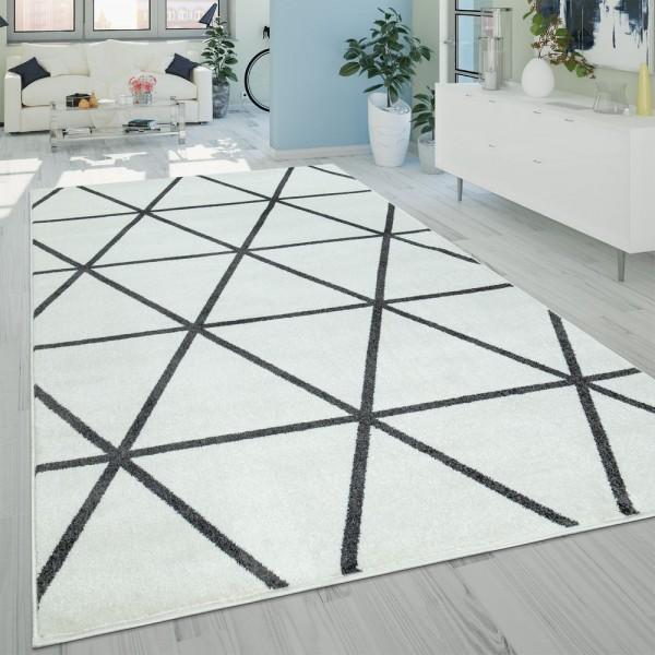 Wohnzimmer-Teppich, Kurzflor Skandinavischer Stil Und Rauten-Muster, In Weiß
