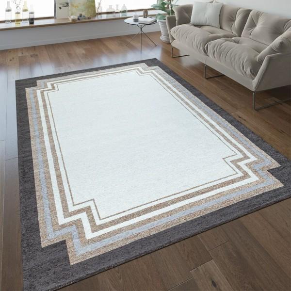 Wohnzimmer-Teppich, Kurzflor Mit Klassischer Brauner Bordüre In Beige Creme