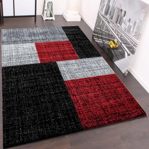 Designer Teppich Muster Karo Creme Rot Braun Meliert