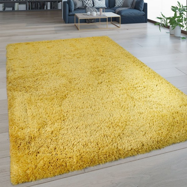 Hochflor Wohnzimmer Teppich Waschbar Shaggy Flokati Optik Einfarbig In Gelb