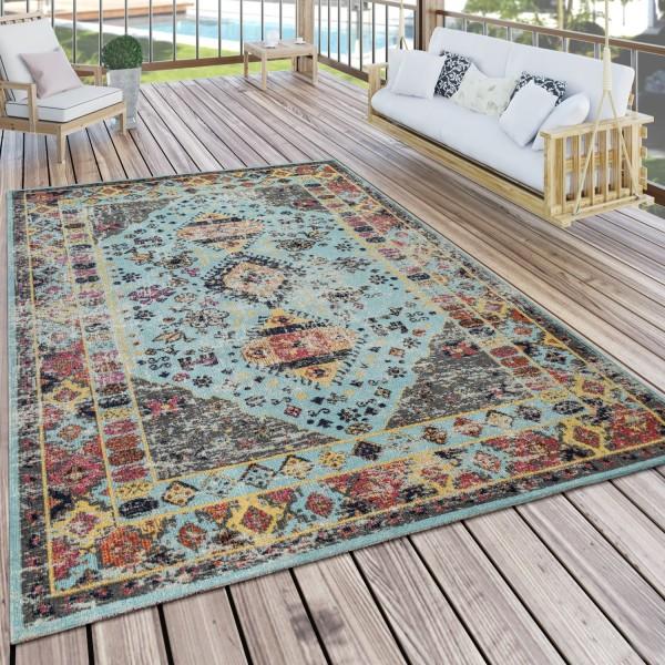 Outdoor carpet oriental design turquoise blue