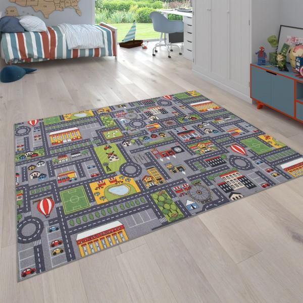 Tappeto per la camera dei bambini, motivo con strade e auto