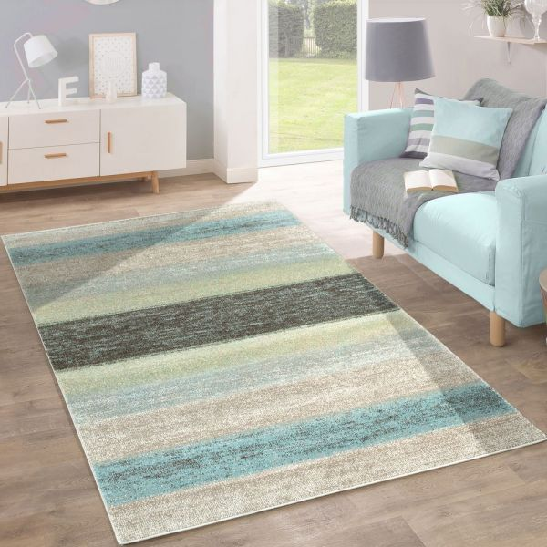 Designer Teppich Modern Wohnzimmer Farbverlauf Streifen Muster Pastell Grün Blau Creme